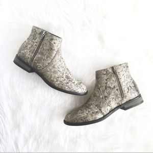 "ROXY ""Martina"" Baroque Embossed Ankle Boots"